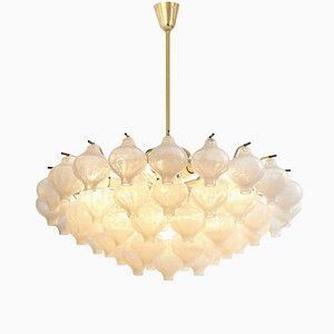 Large Glass and Brass Tulip Flush Mount Chandelier by J.T. Kalmar, 1970s
