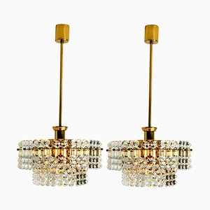 Gold-Plated Crystal Glass Chandeliers from Kinkeldey, 1970s, Set of 2