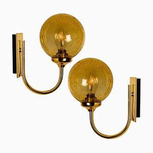 Blown Amber Glass and Brass Wall Lights from Glashütte Limburg, 1960s, Set of 2