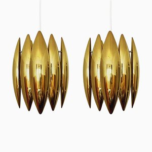 Brass Kastor Pendant Lamps by Jo Hammerborg for Fog & Morup, 1960s, Set of 2