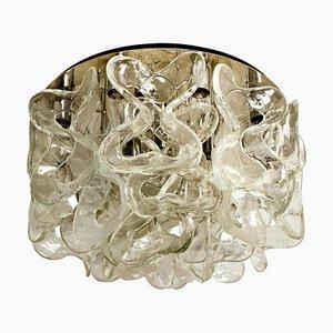Murano Glass and Chrome Catena Flushmount Chandelier by J.T. Kalmar, 1960s