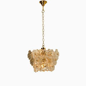 Glass and Brass Floral 3-Tier Light Fixture from Hillebrand, 1970s