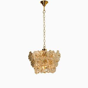 Lampada a 3 luci floreale in vetro e ottone di Hillebrand, anni '70