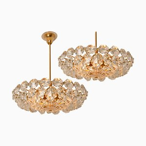 Crystal Glass & Brass Chandeliers from Bakalowits & Söhne, Austria, 1960s, Set of 2