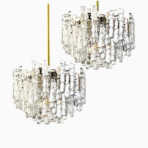 Large Modern 3-Tier Brass Ice Glass Chandeliers by J.T. Kalmar, 1960s, Set of 2