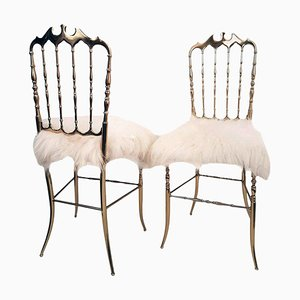 Italian Brass and Iceland Wool Chairs by Chiavari, 1960s, Set of 2