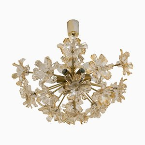 Large Brass and Glass Murano Flower Chandelier, Italy, 1970s