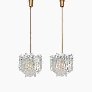 Lampes à Suspension Modernes en Verre Givré et Laiton par JT Kalmar, 1960s, Set de 2