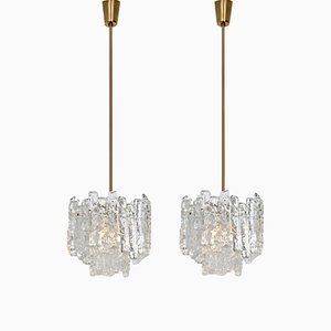 Modern Ice Glass and Brass Pendant Lamps by J.T. Kalmar, 1960s, Set of 2