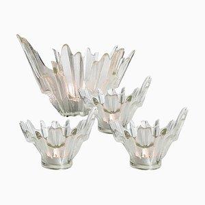 Eisglas Kerzenhalter oder Schalen von Tapio Wirkkala für Humppila, 1960er, 4er Set