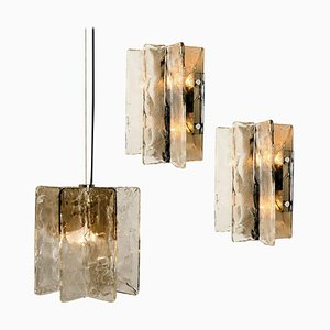 Apliques de cristal de Murano de Carlo Nason para Mazzega, años 60. Juego de 3