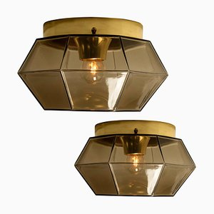 Geometric Smoked Glass and Brass Flush Mount or Wall Light from Glashütte Limburg, 1970s