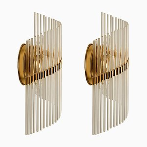 Large Glass Rod Sconces by Sciolari for Lightolier, 1970s, Set of 2