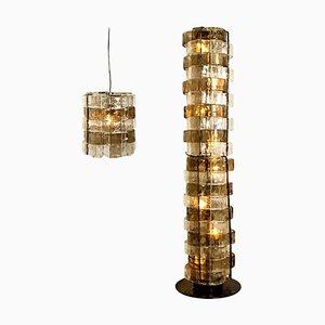 Lámparas de Murano de Carlo Nason para Mazzega, Italy, 1969. Juego de 2