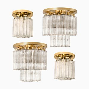 Brass and Glass Light Fixtures from Glashütte Limburg, 1960s, Set of 4