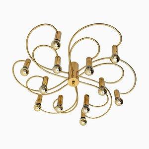 Modernist Sculptural Brass 16-Light Flush Mount, 1970s