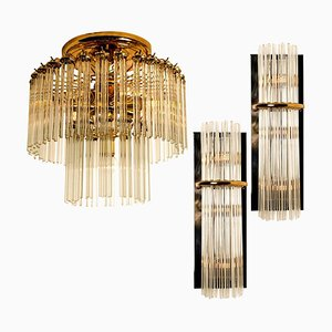 Lámparas de cascada en forma de varilla de vidrio de Gaetano Sciolari para Lightolier, años 60. Juego de 3