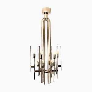 Lámpara de araña italiana Mid-Century de cromo de Gaetano Sciolari, años 60