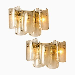 Large Massive Glass Wall Sconces in the Style of Kalmar, 1969, Set of 2