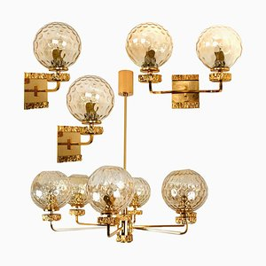 Gold-Plated Blown Glass Light Fixtures in the Style of Brotto, Italy, 1970s, Set of 4