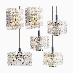 Nickel Crystal and Glass Light Fixtures from Kinkeldey, 1970s, Set of 6
