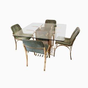 Mesa de comedor italiana de vidrio con 4 sillas, 1970