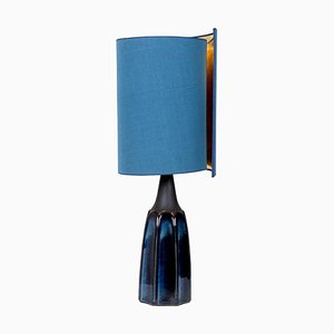 Table Lamp with Silk Lampshade from Soholm Pottery, 1960s
