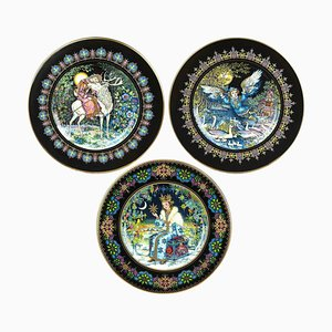 Russian Magical Fairy Tales Plates by Gere Fauth, 1969, Set of 3