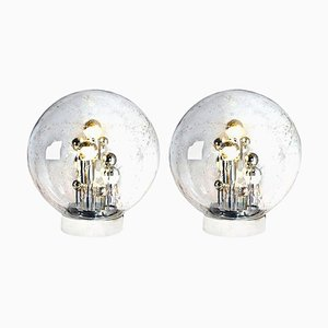 Large Hand Blown Bubble Glass Table Lamps from Doria Leuchten, Germany, 1970s, Set of 2