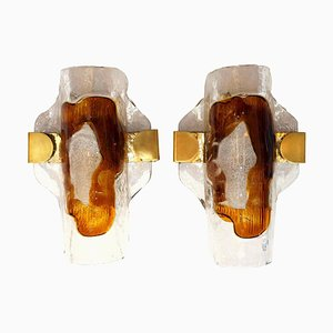 Hand Blown Murano Glass Wall Lights or Sconces from Hillebrand, 1970s, Set of 2