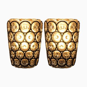 Circle Iron and Bubble Glass Sconces from Glashütte Limburg, Germany, 1960s, Set of 2