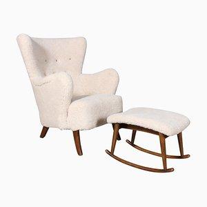 Danish Lounge Chair & Ottoman in Lamb Wool, 1940s, Set of 2