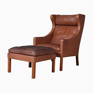 Leather Model 2202 / 2204 Wingback Lounge Chair & Ottoman by Børge Mogensen for Fredericia, 1980s
