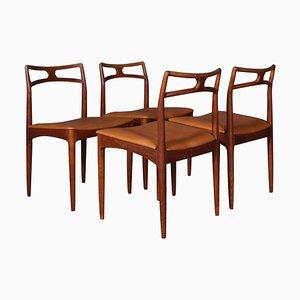 Teak Model 96 Dining Chairs by Johannes Andersen for Christian Linneberg, 1960s, Set of 4