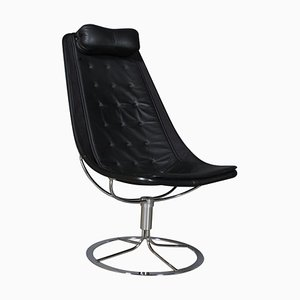 Jetsson Lounge Chair with Black Leather by Bruno Mathsson, 1960s