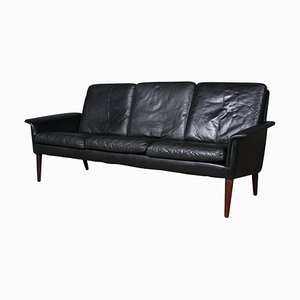 Black Leather & Rosewood Sofa by H.W. Klein, 1960s