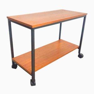 Vintage Teak and Metal Hi-Fi Side Table Trolley, 1960s