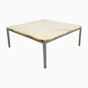 Vintage Natural Stone Marble & Chrome Metal Coffee Table, 1960s