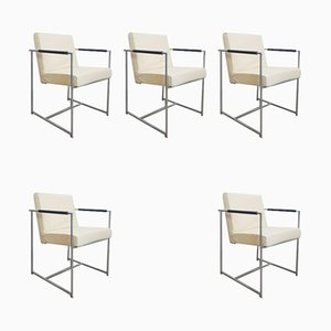 Leather & Stainless Steel Tube Dining Chairs by Harvink Point, 1990s, Set of 5