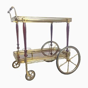 Neoclassical Style Brass Serving Trolley from Maison Jansen, 1940s