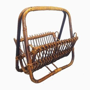 Vintage Bamboo and Rattan Magazine Rack, 1960s