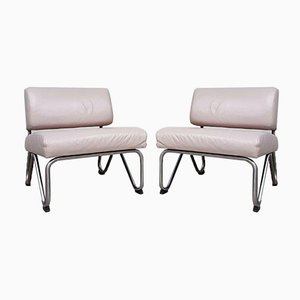 Mid-Century Leather Hairpin Lounge Chairs, Set of 2