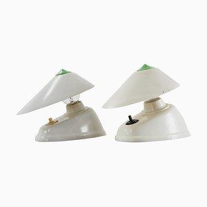 Weiße Mid-Century Bakelit Tisch- oder Wandlampen, 1960er, 2er Set
