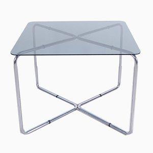 Mesa de comedor cuadrada de acero y cristal ahumado, años 70