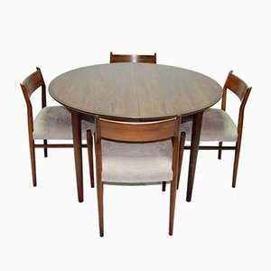 Rosewood Dining Table & Chairs by Arne Vodder, 1960s, Set of 5