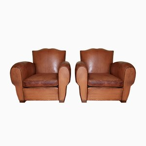 Leather Moustache Club Chairs, Set of 2