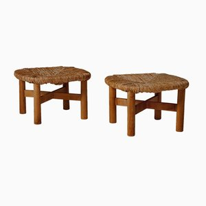 Mid-Century Rush Stools by Lorenzo Forges Davanzati, Set of 2