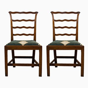 Antique Irish Mahogany Ladder Back Side Chairs, Set of 2