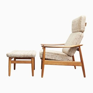 Teak Model FD164 Armchair & Ottoman by Arne Vodder for Cado, 1970s, Set of 2