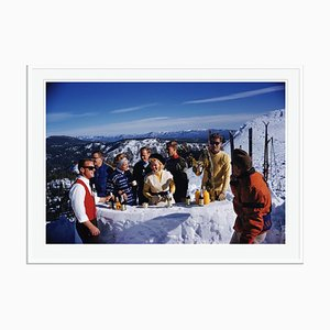 Apres Ski Oversize C Print Framed in White by Slim Aarons